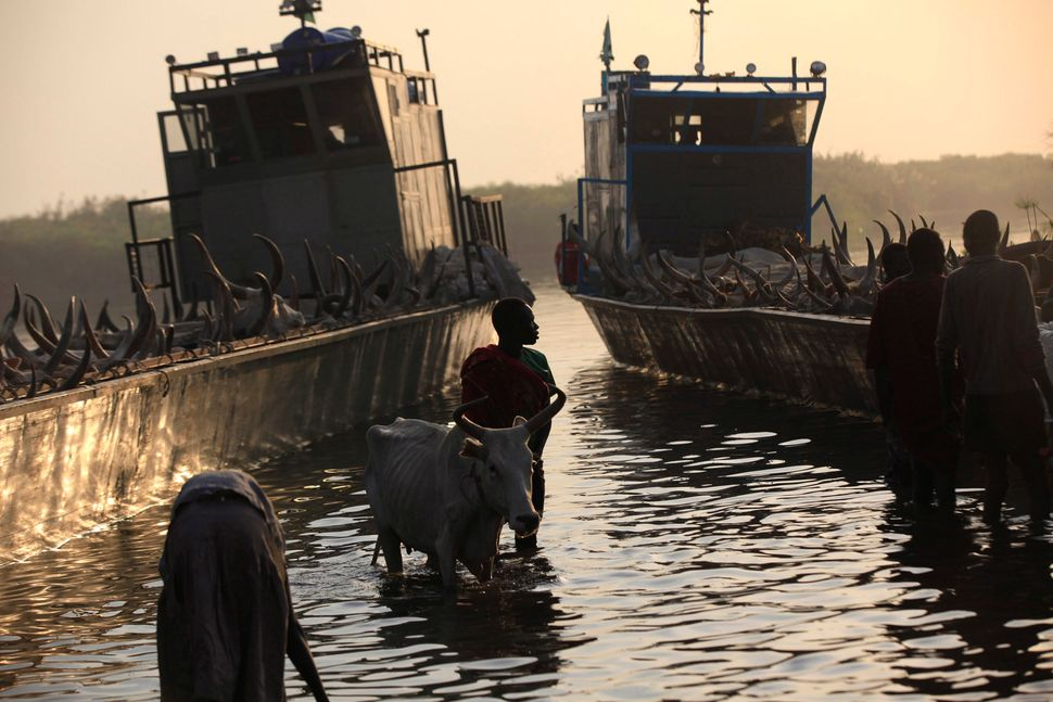 A man displaced by the fighting in Bor County, South Sudan arrives in the port in Minkaman in Awerial County, Lakes State in