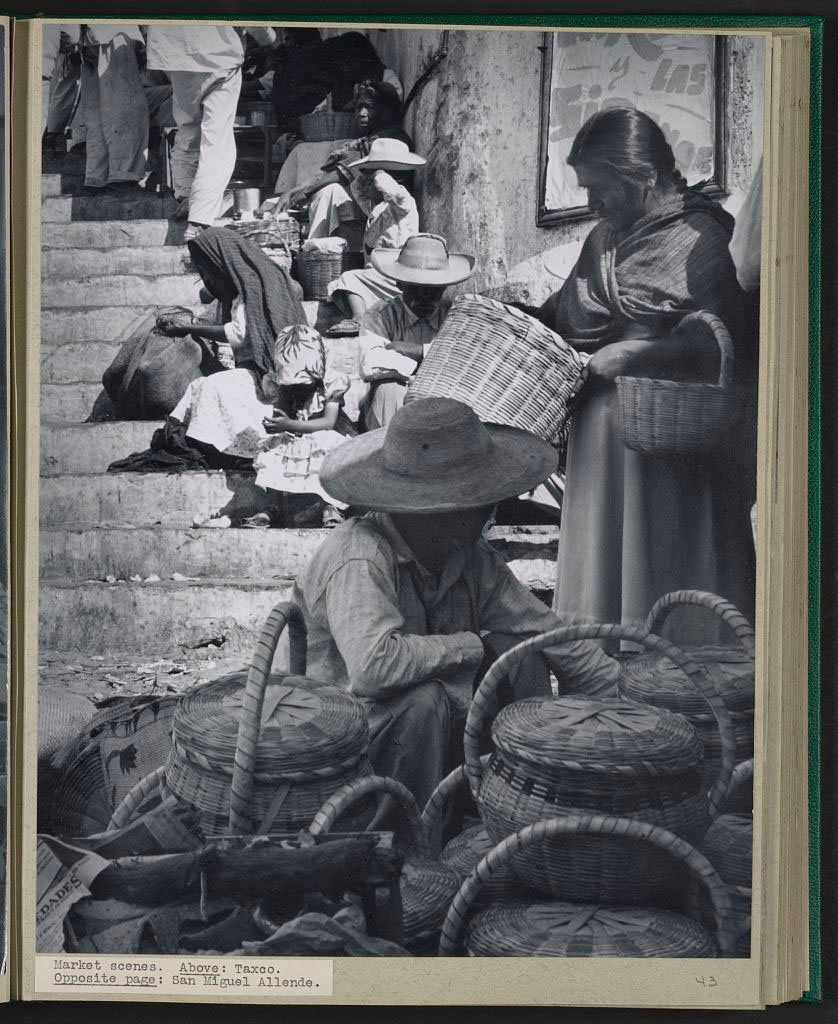 A photo of an open-air market in Taxco, Mexico in 1949.