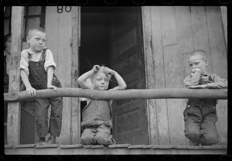 Children of a coal miner in Pursglove, West Virginia in 1938.