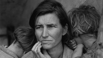 """1.) Reproduction number: LC-USF34-9058-C (film negative) Caption: """"Destitute peapickers in California; a 32 year old mother of seven children. February 1936."""" (retouched version) Location: FSA/OWI - J339168 (the original photographic print has been replaced by a copy print) (Also available on microfilm and microfiche: Microfilm LOT 344; Chadwyck-Healey Far West fiche #29:E11.)"""