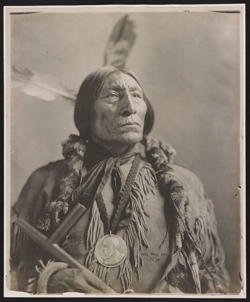 A photo of Chief Wolf Robe in 1904. The Southern Cheyenne chief sometimes believed to be the man whose profile was used on th