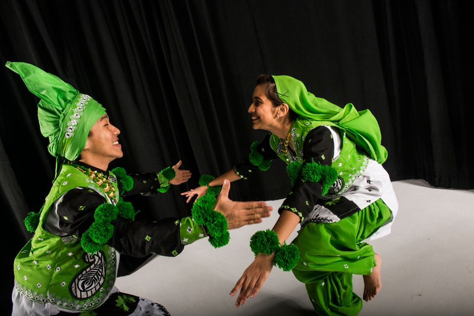 Columbia University Bhangra team demonstrates Bhangra dance moves for Huffington Post reporters in New York Friday Feb. 26, 2