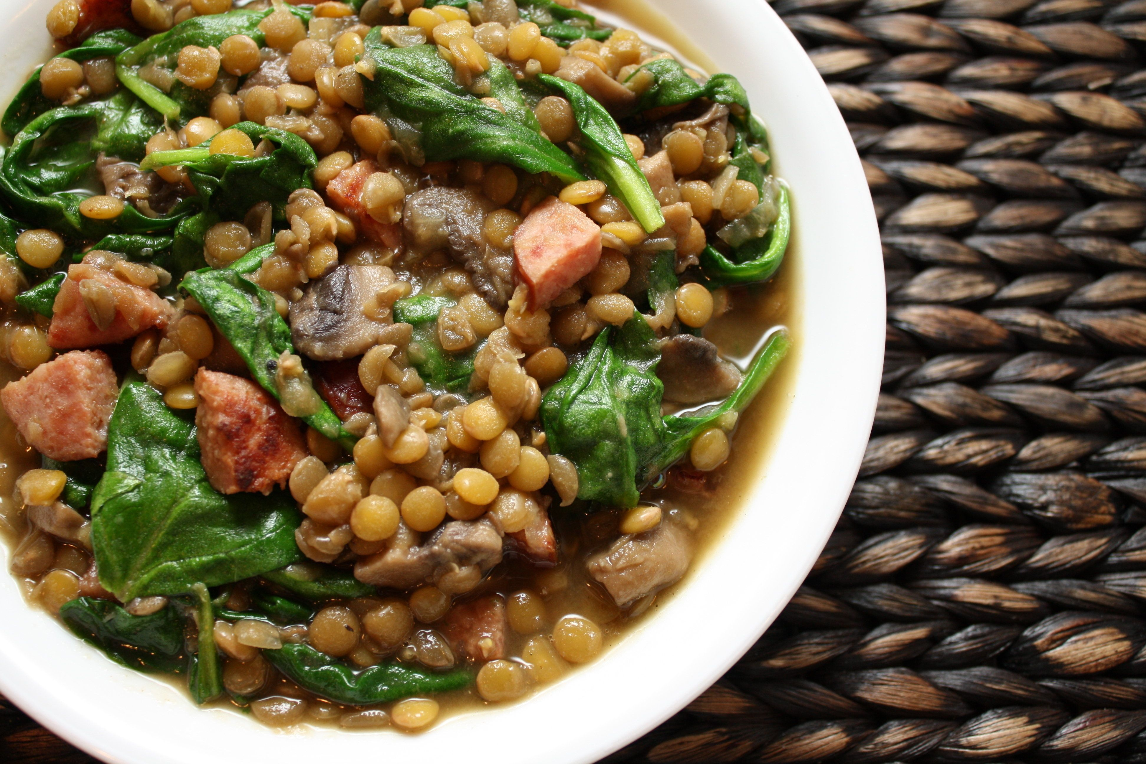 Lentil Soup with sausage and spinach