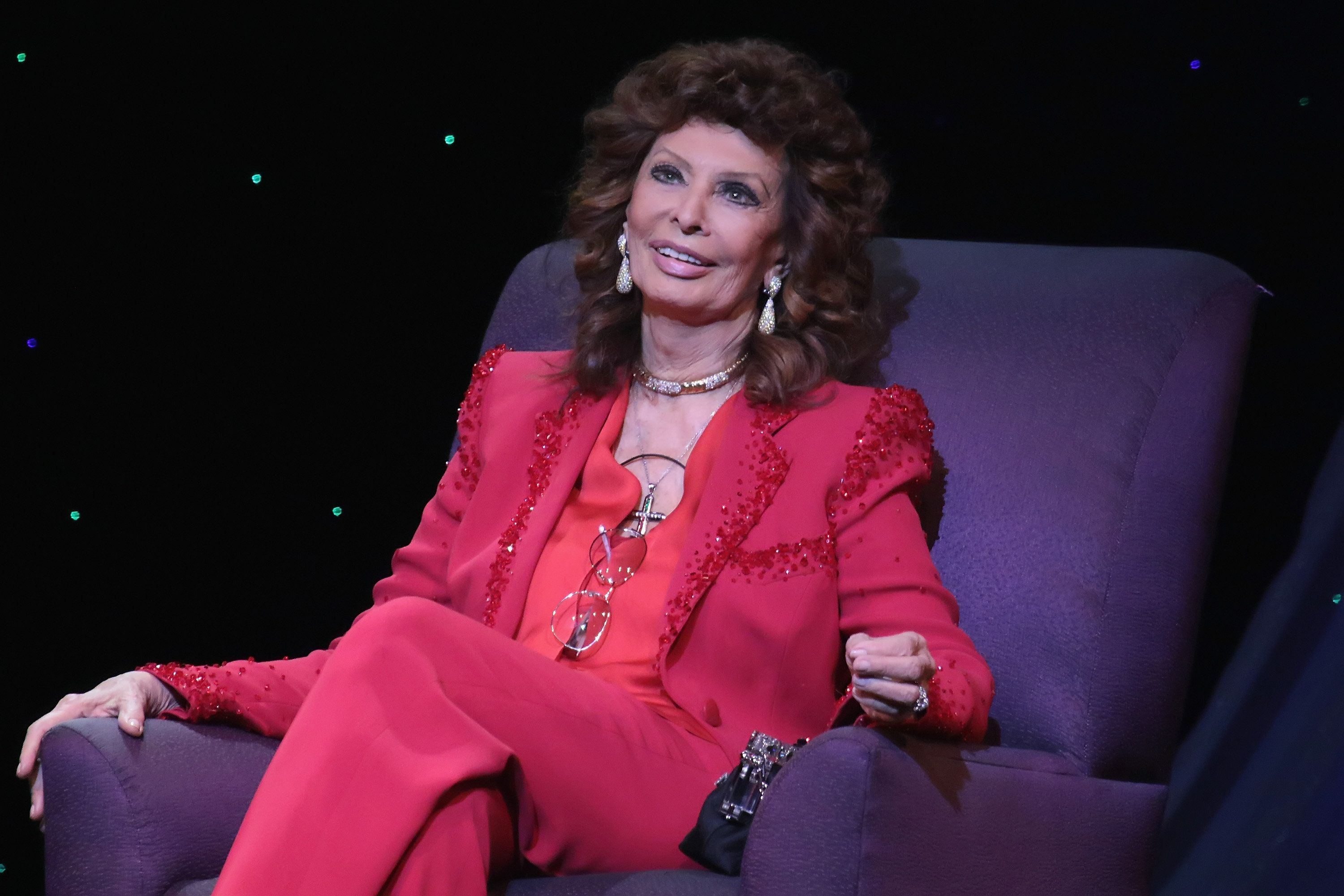 Sophia Loren talks to the audience at The Borgata Event Center on March 11, 2016 in Atlantic City, New Jersey.
