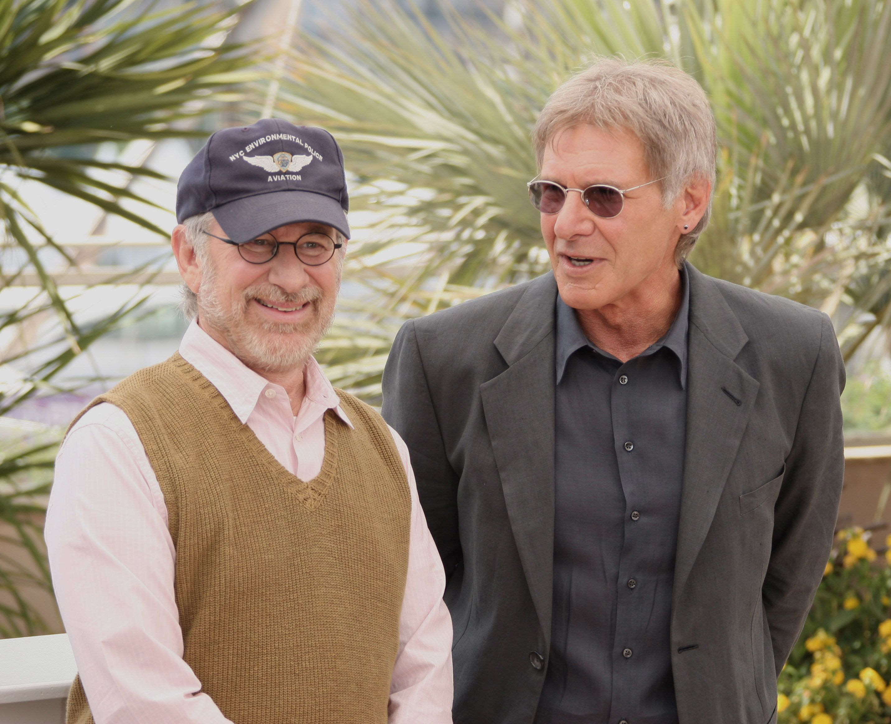 (L) Director Steven Spielberg and actor Harrison Ford attend the 'Indiana Jones and the Kingdom of the Crystal Skull' photocall at the Palais des Festivals during the 61st Cannes International Film Festival on May 18, 2008 in Cannes, France. (Photo by George Pimentel/WireImage)