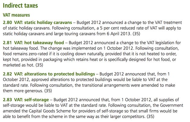 The 2012 Autumn Statement spelling out revised VAT