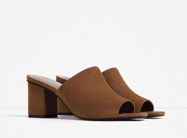 """<a href=""""http://www.zara.com/us/en/woman/shoes/view-all/mule-sandals-c719531p3153954.html"""" target=""""_blank"""">Zara Mule Sandals,"""