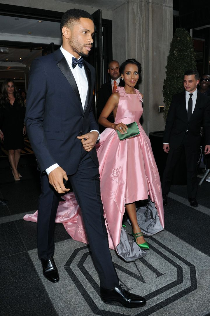 Kerry Washington and Nnamdi Asomugha depart The Mark Hotel for the Met Gala on May 4, 2015, in New York City.