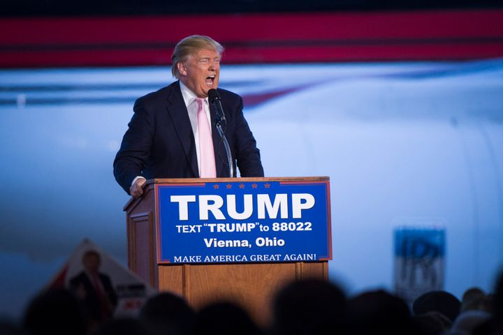 Donald Trump riling up a crowd in in Vienna, Ohio, on March 14. His rallies have increasingly become the sites of violen