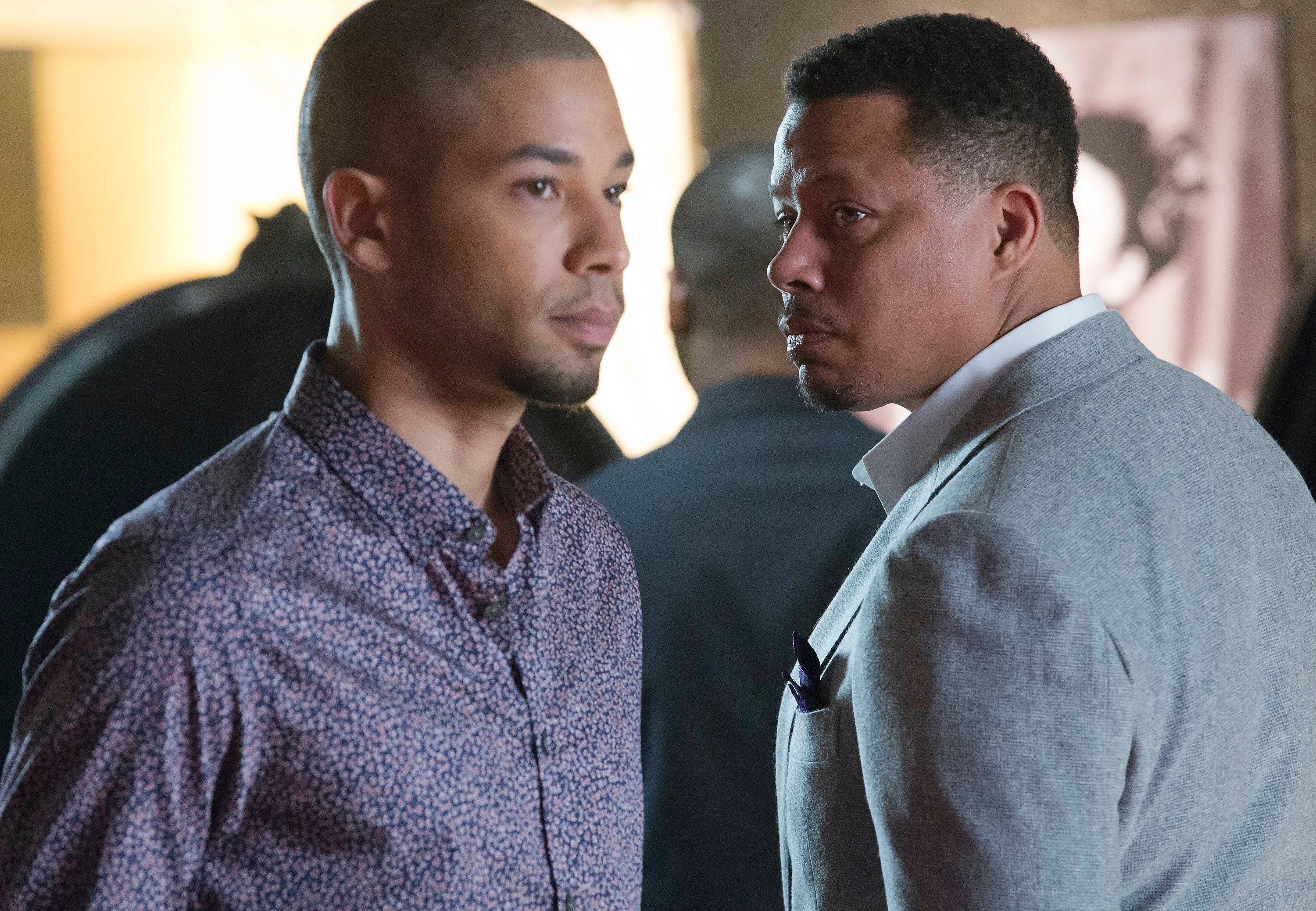 EMPIRE: Lucious (Terrence Howard, R) and Jamal (Jussie Smollett, L) form a music-centered relationship in the special two-hour 'Die But Once/Who I Am' Season Finale episode of EMPIRE airing Wednesday, March 18 (8:00-10:00 PM ET/PT) on FOX. (Photo by FOX via Getty Images)