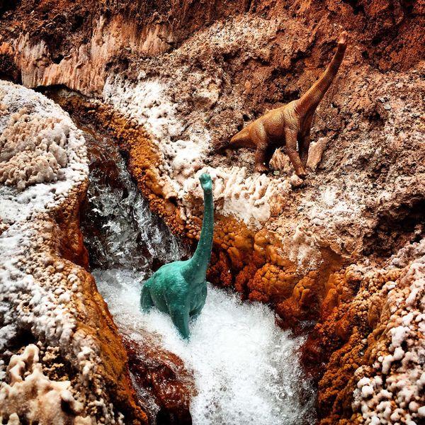 Taking a dip in a stream in Peru.