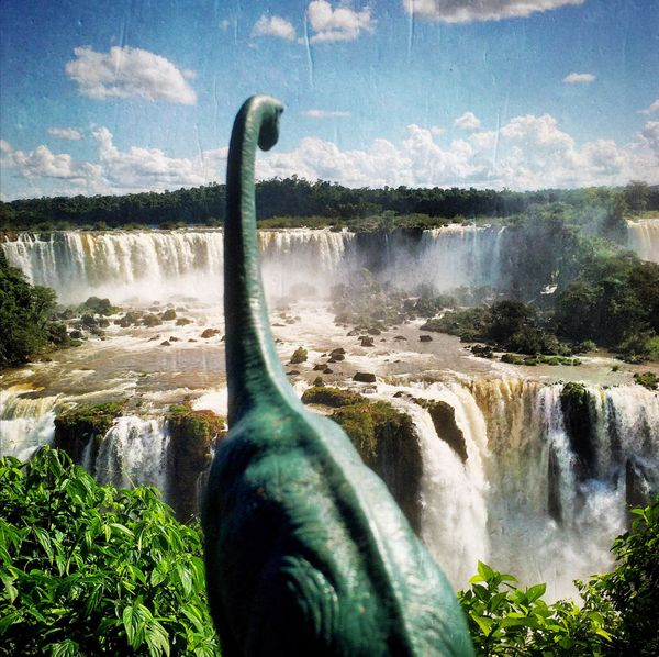 Even for a toy dinosaur, the waterfalls of Brazil are kind of amazing.