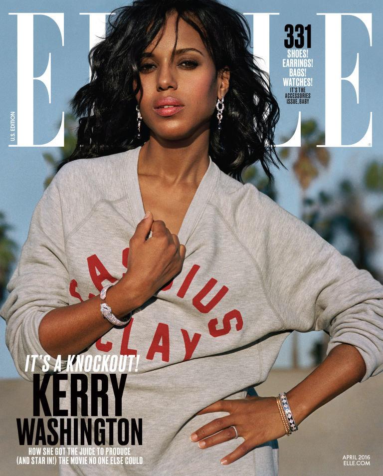 "Kerry Washington rocks a Shinola sweatshirt giving a nod to Muhammad Ali, as she graces ""Elle"" magazine's April 2016 cover.<i"