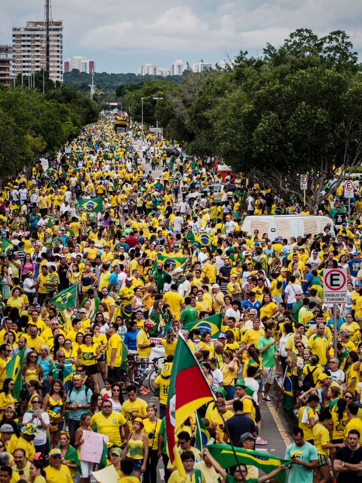Nearly 2million protestors participated in demonstrations across the against President Dilma Rousseff's embattled gover