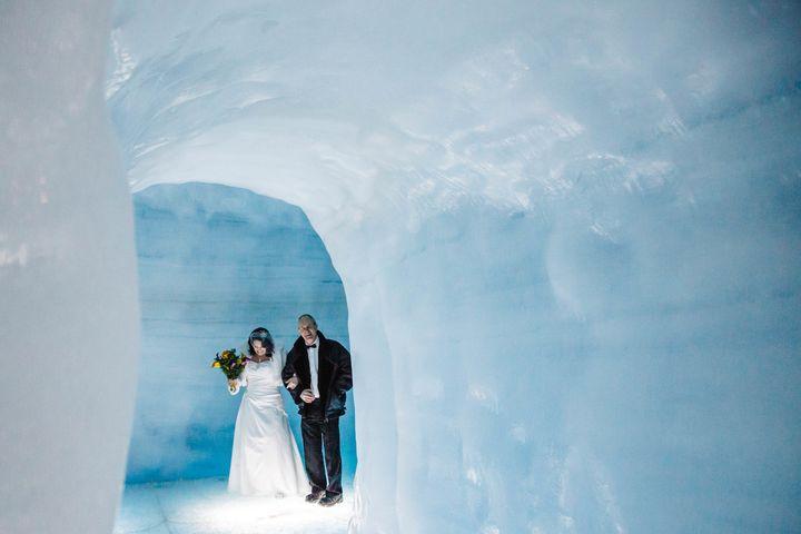 Bride Mari makes her way through the glacier.