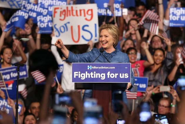 Hillary Clinton speaks to her supporters during an eventat the Palm Beach County Convention Center...