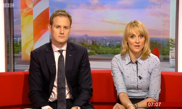 Dan Walker and Louise Minchin presenting BBC