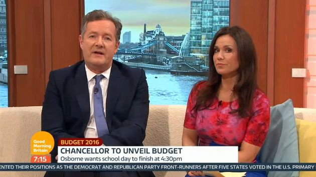 Piers Morgan said sitting to Susanna Reid's right would 'look