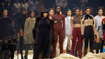 NEW YORK, NY - FEBRUARY 11:  Model Naomi Campbell appears onstage during Kanye West Yeezy Season 3 on February 11, 2016 in New York City.  (Photo by JP Yim/Getty Images for Yeezy Season 3)