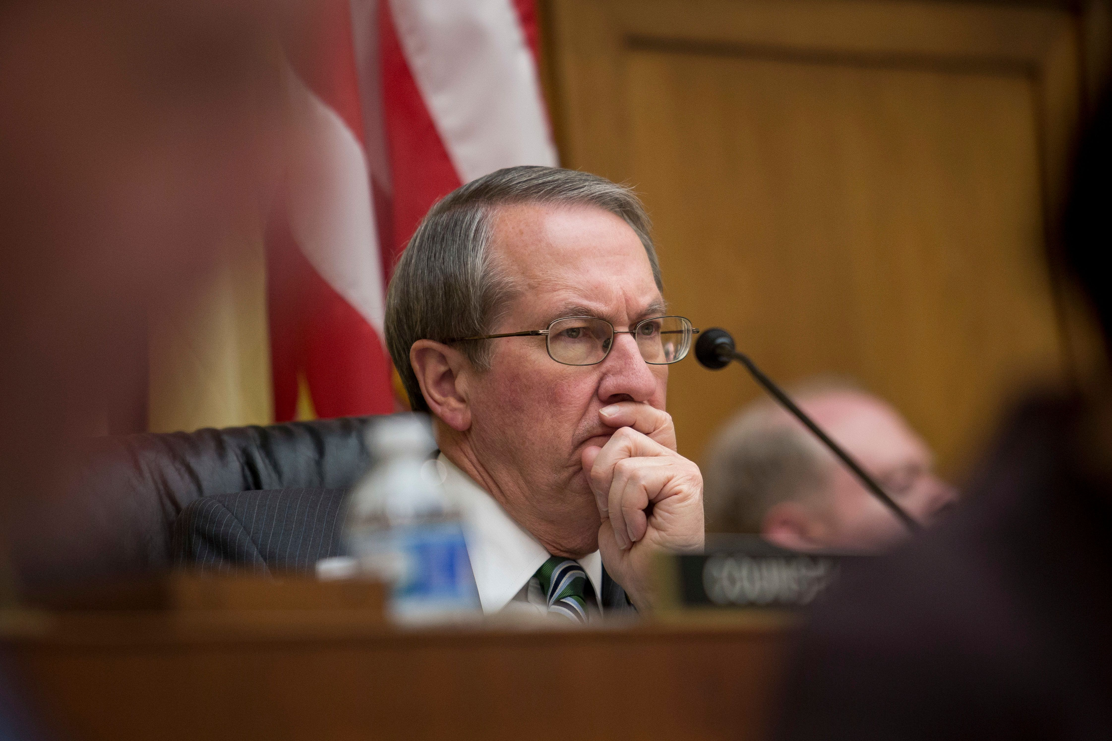 WASHINGTON, DC - MARCH 1: Committee chairman Rep. Bob Goodlatte (R-VA) listens to testimony from Federal Bureau of Investigation Director James Comey during a House Judiciary Committee hearing titled 'The Encryption Tightrope: Balancing Americans' Security and Privacy,' on Capitol Hill, March 1, 2016 in Washington, DC. Apple is fighting a court order requiring them to assist the FBI in opening the encrypted iPhone belonging to San Bernardino shooter Syed Farook. (Photo by Drew Angerer/Getty Images)