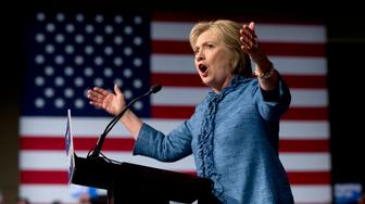 Democratic presidential candidate Hillary Clinton speaks during an election night event at the Palm Beach County Convention Center in West Palm Beach, Fla., Tuesday, March 15, 2016. (AP Photo/Carolyn Kaster)
