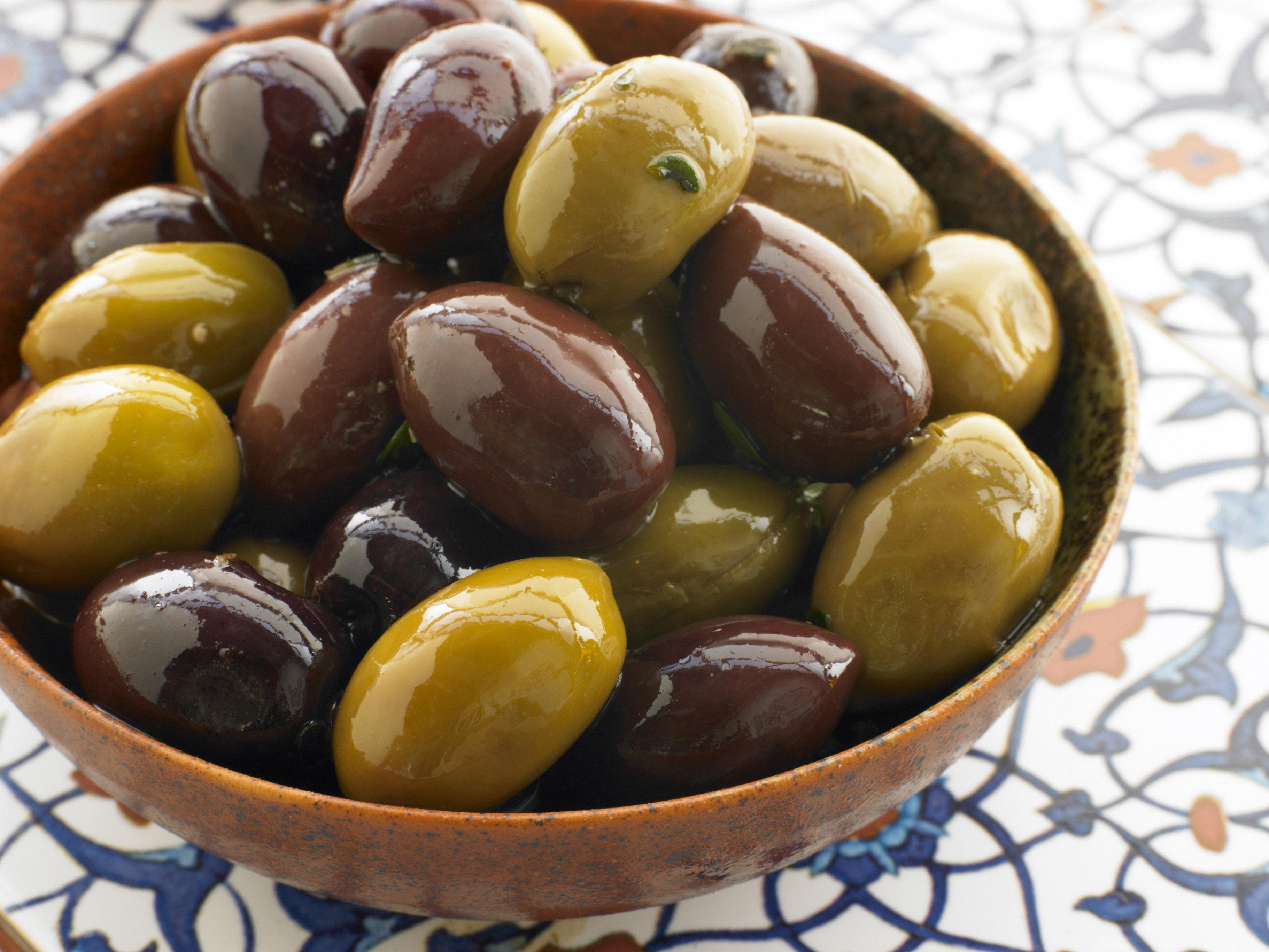 Marinated Green and Black Kalamata Olives