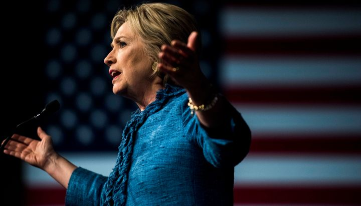 Former Secretary of State Hillary Clinton speaks to a cheering crowd atavictory party in West Palm Beach, Florida