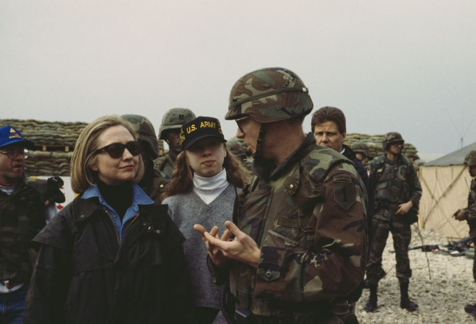 Former First Lady of the United States Hillary Clinton and her daughter Chelsea visit U.S. troops at Tuzla Air Base, Bosnia a