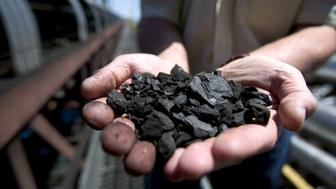 GILLETTE, WY -  JUNE 12:  (US NEWS AND WORLD REPORT AND NEWSWEEK OUT)  A KFx company executive shows off a handful of the company's K-Fuel or 'clean coal,' an upgraded coal produced with nearby Powder River Basin coal and under high heat and pressure extracting moisture and toxic pollutants before shipping it to public utilities, June 12, 2006, in Gillette, Wyoming. The $80 million USD northeastern Wyoming project came on line in early 2006 with its first test burn of Powder River Basin coal in March, 2006. K-Fuel is described by KFx as the 'unleaded gasoline' equivalent for the coal-fired industry. The company takes low-grade coal, removes 80% of the moisture, increases BTU (heat content) per pound by 30% to 40%, and reduces mercury content by 70% (the element that is credited with fouling water around the world). Sulfur dioxide and nitrogen oxides will also be removed by 30%. The KFx facility, using 8300 BTU coal, will produce annually 750,000 tons of 11,000 BTU coal using the Lurgi Mark 4 process, a modified 50 year-old German engineering procedure (the equivalent eastern Appalachian coal is 11,000 BTU). KFx has an agreement with Kiewit Coal Company to construct a ten unit plant in Gillette and with Arch Coal at Coal Creek for a twenty unit facility within 2 1/2 years.  (Photo by Robert Nickelsberg/Getty Images)