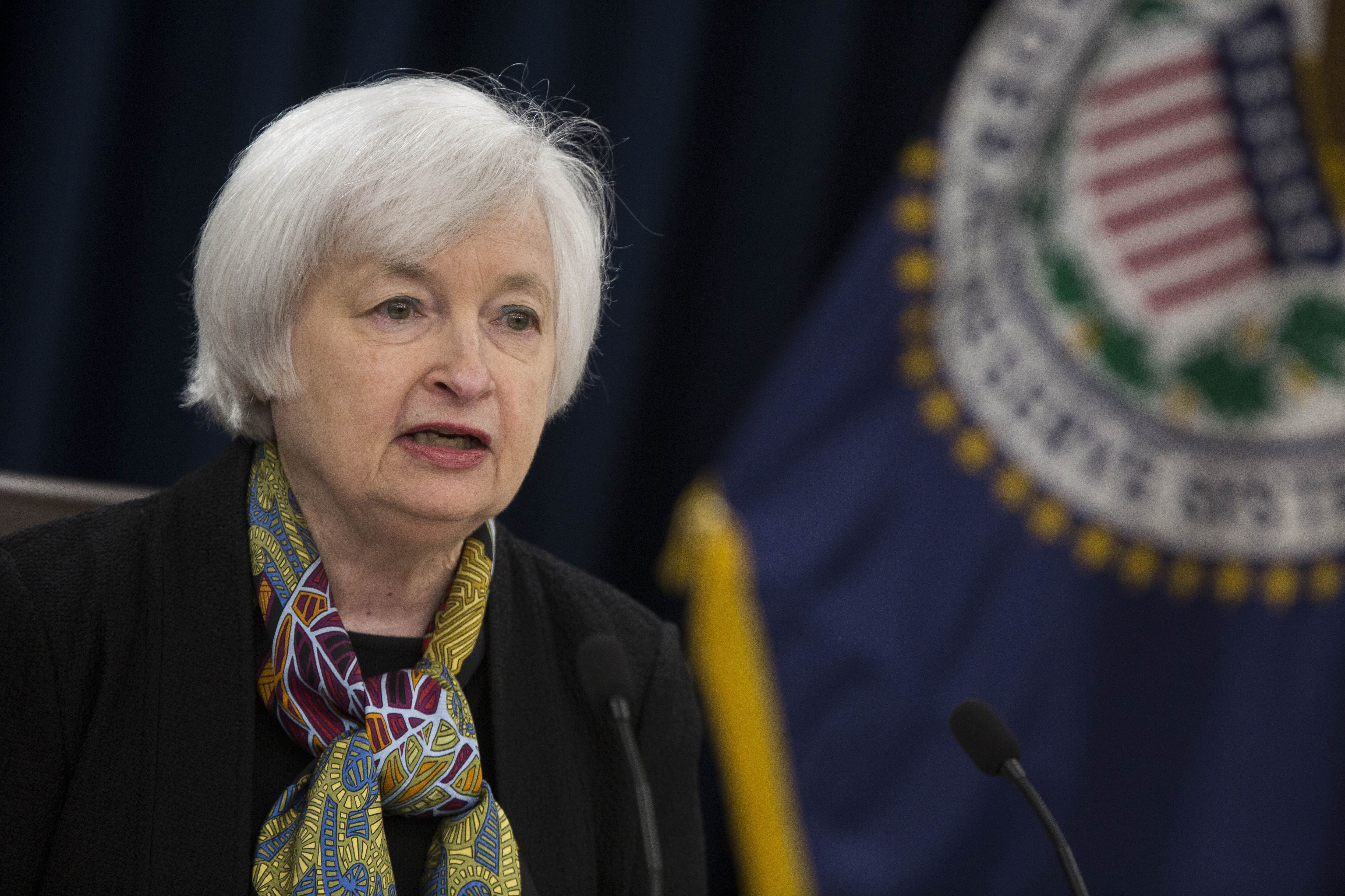 Janet Yellen, chair of the U.S. Federal Reserve, speaks during a news conference following a Federal Open Market Committee (FOMC) meeting in Washington, D.C., U.S., on Wednesday, March 16, 2016. Federal Reserve officials held off from raising borrowing costs and scaled back forecasts for how high interest rates will rise this year, citing the potential impact from weaker global growth and financial-market turmoil on the U.S. economy. Photographer: Drew Angerer/Bloomberg via Getty Images