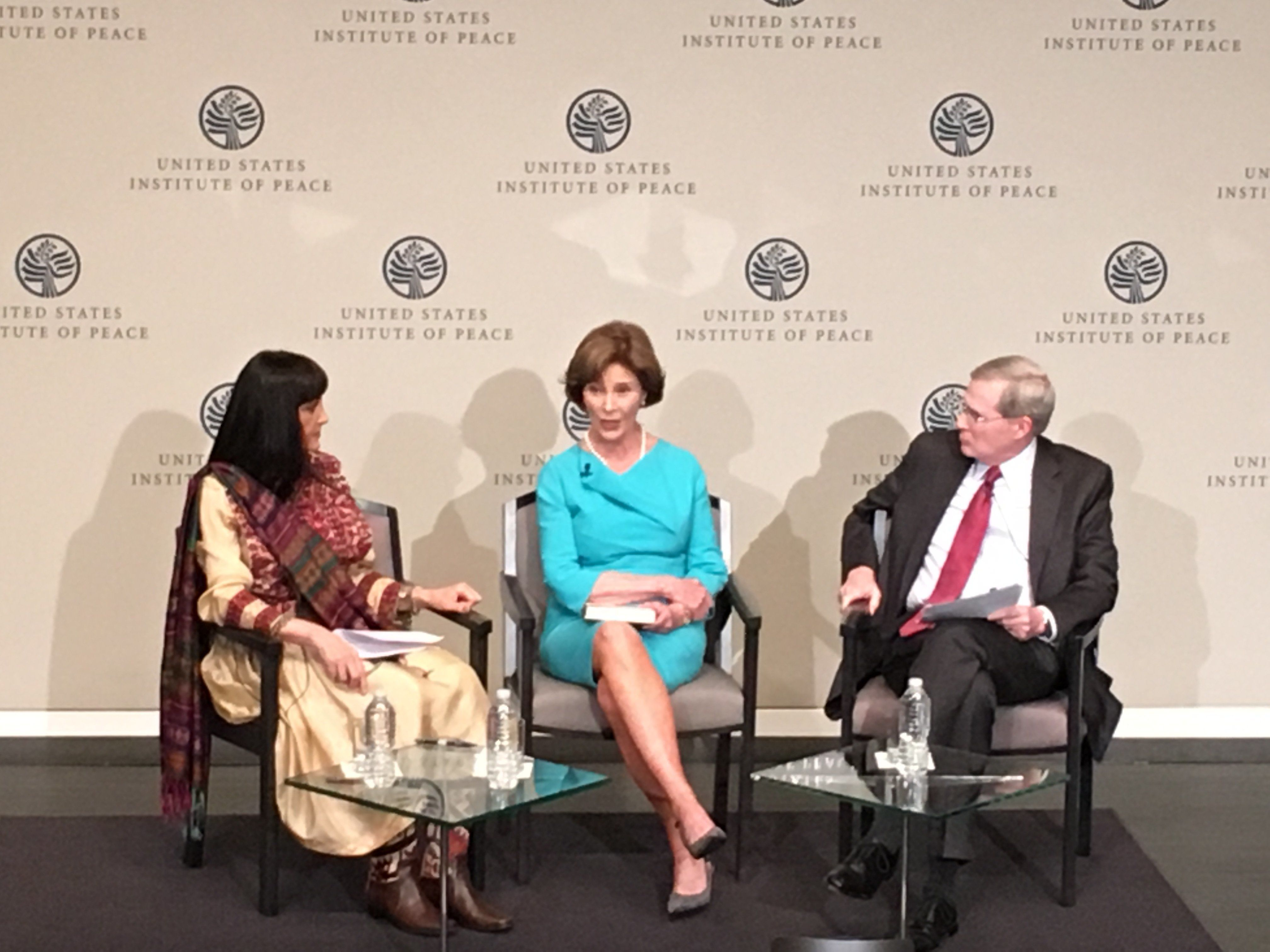 Former first lady Laura Bush speaks at the U.S. Institute of Peace as part of a high-profile campaign to aid Afghan