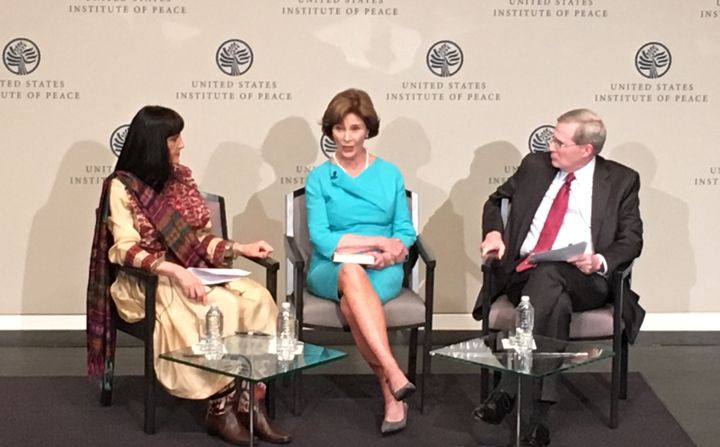 Former first lady Laura Bush speaksat the U.S. Institute of Peace as part of a high-profile campaign to aidAfghan