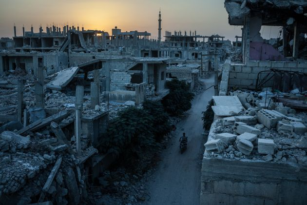 View of a heavily damaged neighborhood in Kobane, Syria, targeted by a series of US-led coalition airstrikes...