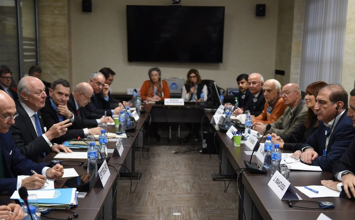 Staffan de Mistura, U.N. special envoy for Syria, speaks with Syrian opposition figures in Geneva. He is overseeing the