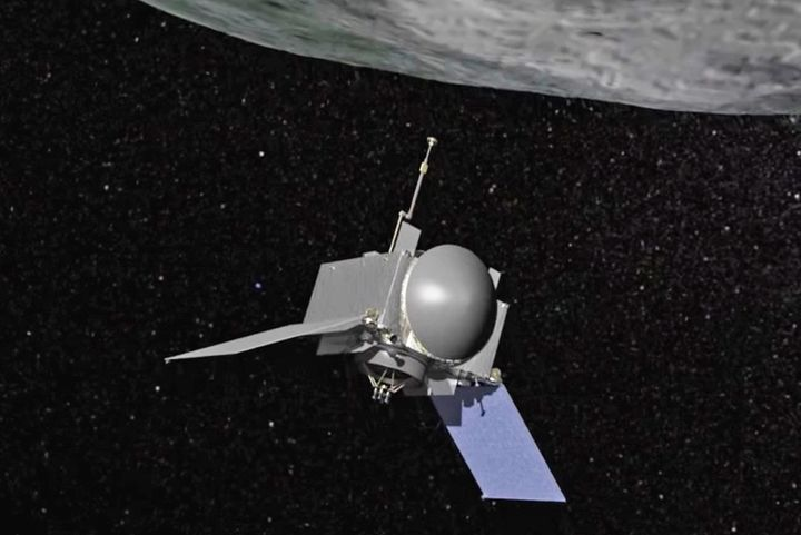 An animation showing the OSIRIS-REx spacecraft as it approaches Bennu, en route to collecting a sample of the asteroid for a