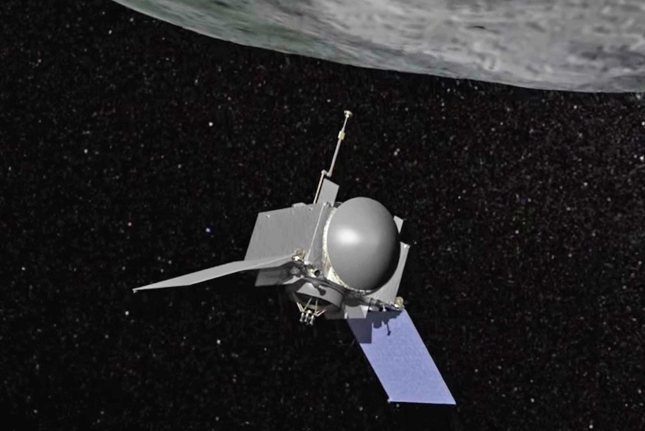 Animation still of OSIRIS-REx spacecraft preparing to collect a soil sample from asteroid Bennu, before returning to Earth.