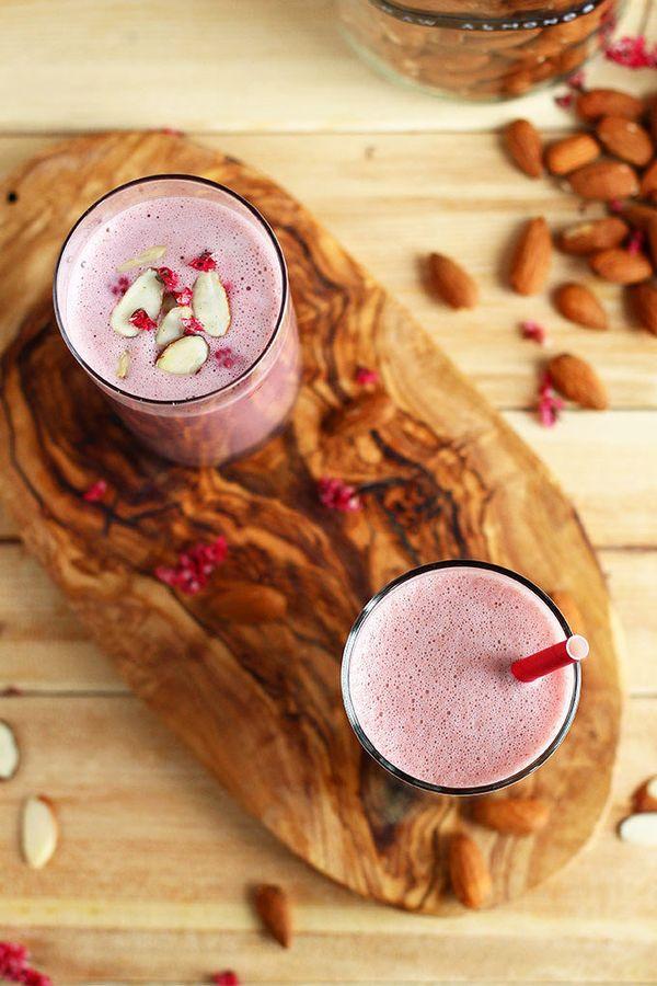 "Get the <a href=""http://www.ilovevegan.com/raspberry-almond-milk/"" target=""_blank"">Raspberry Almond Milk recipe</a> at I Love"