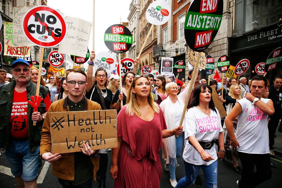 Church at an anti-austerity rally at the Bank of England in June