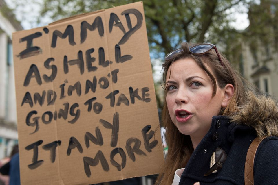 Charlotte Church at a protest in after the Conservative General Election