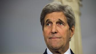 US Secretary of State John Kerry delivers a statement on Syria at the State Department in Washington, DC, March 15, 2016. / AFP / Jim Watson        (Photo credit should read JIM WATSON/AFP/Getty Images)