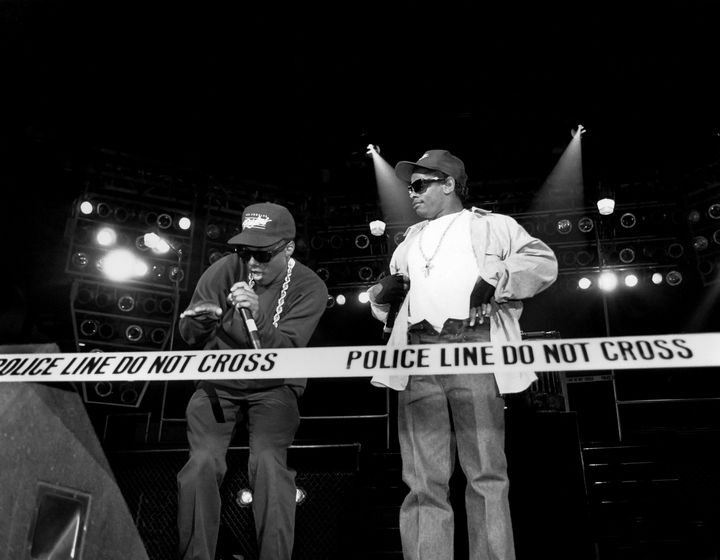 Rappers MC Ren and Eazy-E from N.W.A are seen performing in 1989.