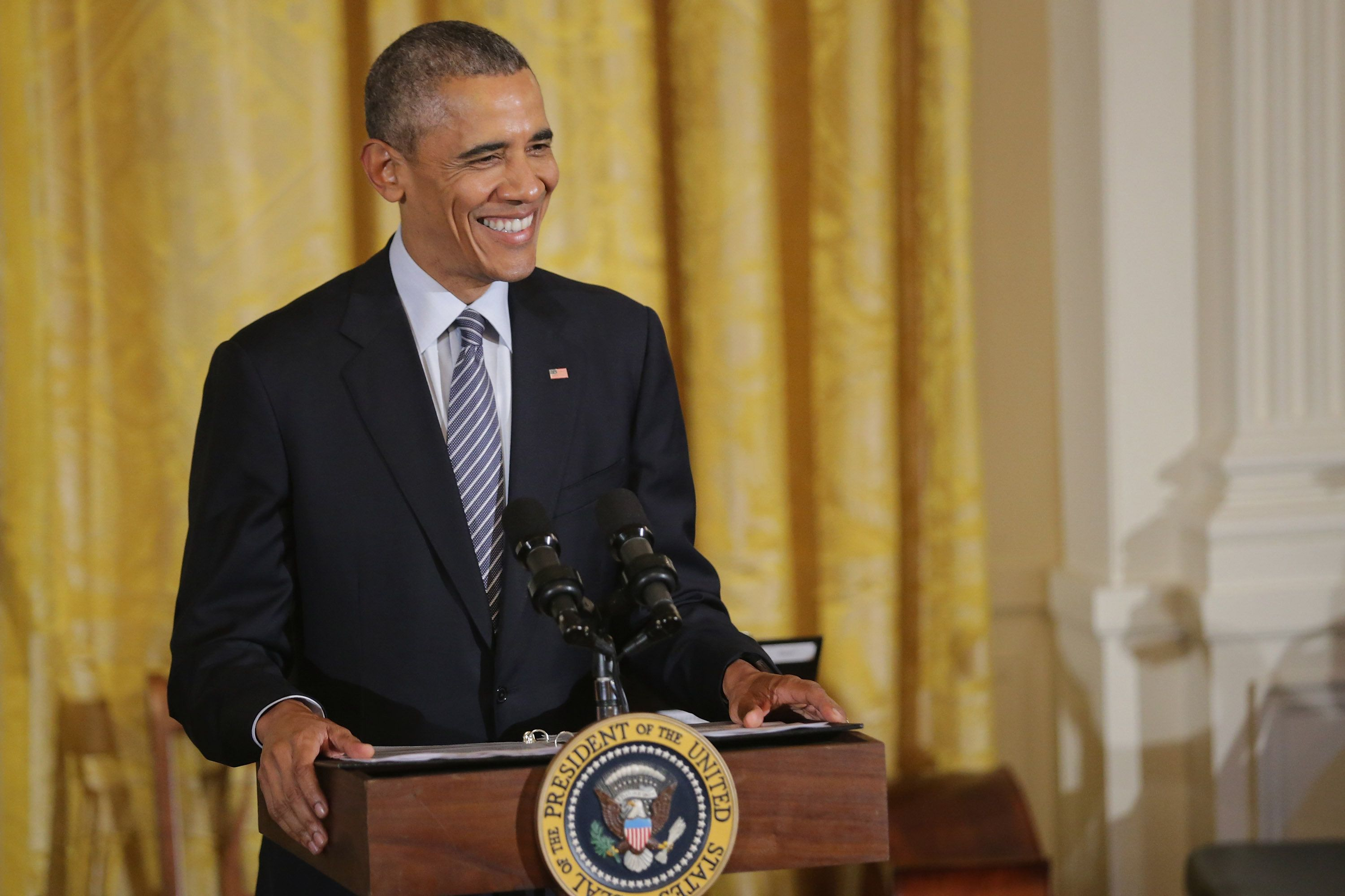"""One thing I've been thinking about this past week is the unique challenges women face in the virtual world,"" Obama tol"