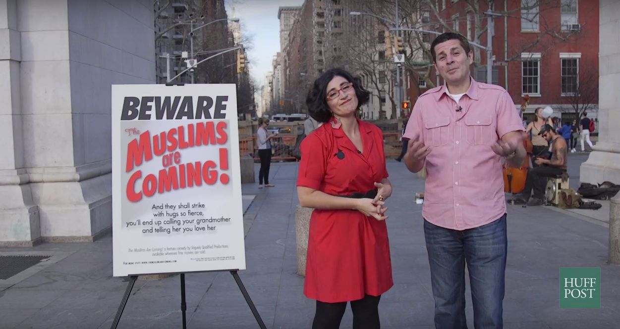"Negin Farsad and Dean Obeidallah hit the streets of NYC to see what people think of their ad campaign for ""The Muslims Are Coming."""