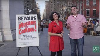 """Negin Farsad and Dean Obeidallah hit the streets of NYC to see what people think of their ad campaign for """"The Muslims Are Coming."""""""
