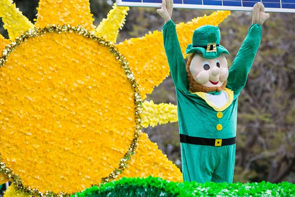 A lephrechaun on a parade float at the St. Patrick's Day Parade and Festival at Balboa Park on March 12, 2016 in San Diego, C