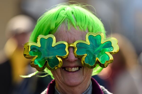 A woman wears a pair of shamrock-shaped glasses during St Patrick's Day at the Cheltenham Festival at the English racecourse