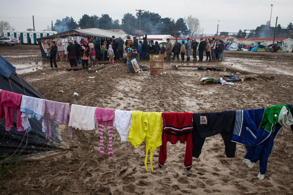 The Idomeni transit camp, located along the Greece-Macedonia border, is overcrowded with people trying to cross into Macedoni