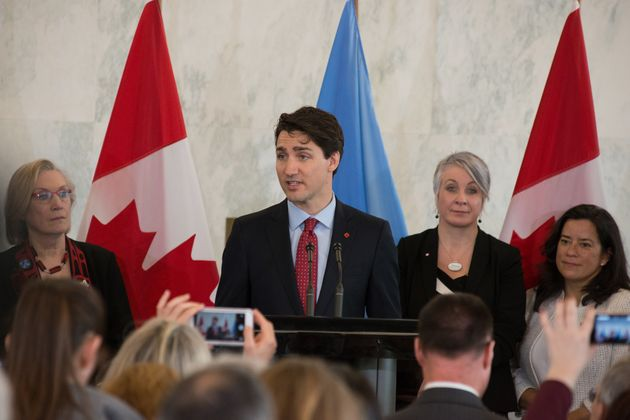 Canadian Prime Minister Justin Trudeau speaks at a press conference at UN HQ on
