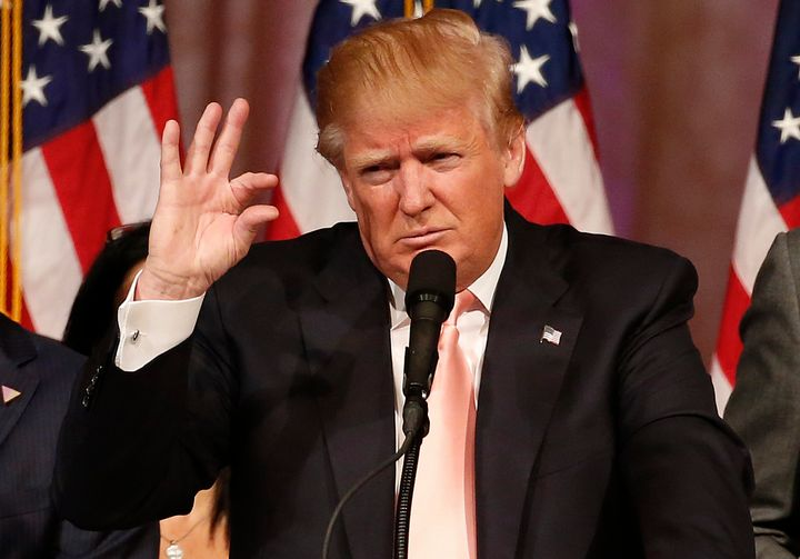 Republican presidential candidate Donald Trump addresses a press conference following his victory in the Florida state primar