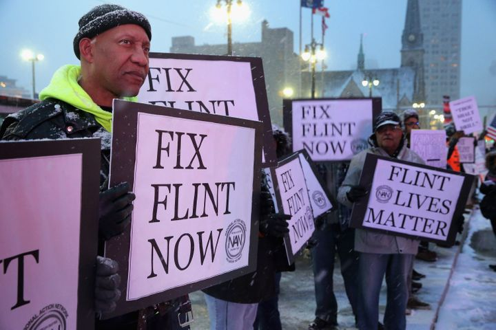 Demonstrators outside the historic Fox Theater before the GOP presidential debate on March 3, 2016 in Detroit, Michigan.